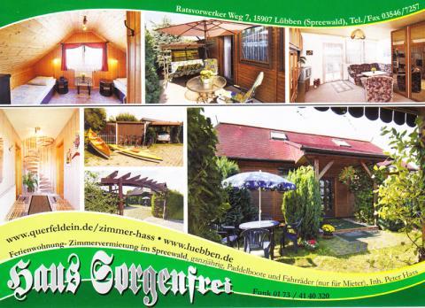 Ferienwohnung-Zimmervermietung im Spreewald – Haus Sorgenfrei in Lübben in Lübben (Spreewald)