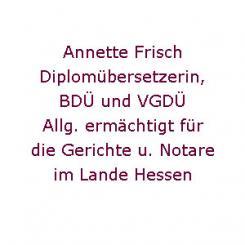 Diplomübersetzerin Annette Frisch in Frankfurt am Main  | Frankfurt am Main