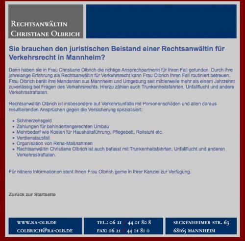 Firmenprofil von: Rechtsanwältin Christiane Olbrich in Mannheim