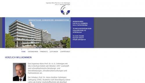 Firmenprofil von: Ingenieur-Büro Prof. Dr. H.-G. Oehmigen in Bochum