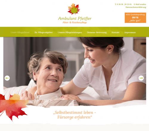 Firmenprofil von: Beratung und Betreuung rund um die Pflege – Ambulant Pfeiffer in Bergen auf Rügen