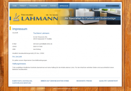 Firmenprofil von: Tischlerei Lahmann in Salzwedel bei Lüneburg