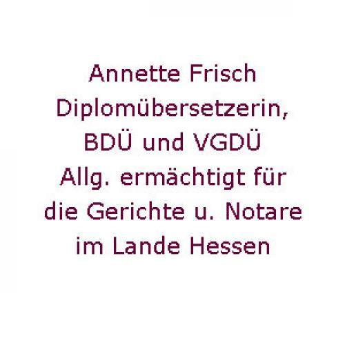 Firmenprofil von: Diplomübersetzerin Annette Frisch in Frankfurt am Main