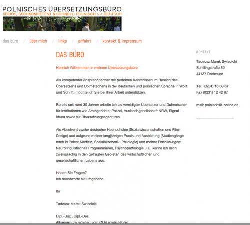 Firmenprofil von: Polnisches Übersetzungsbüro in Dortmund: Dipl.-Soz., Dipl.-Des. Tadeusz Swiecicki