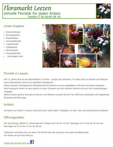 Firmenprofil von: Einen Blumenstrauß für jeden Anlass – Floramarkt Leezen in Schwerin