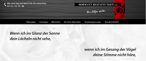 Firmenprofil von: Internationale Beisetzungen aus Wernau: Dormann Bestattungen Limited